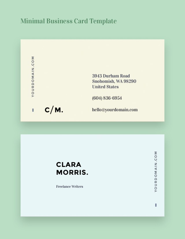 minimal business card template free design resources