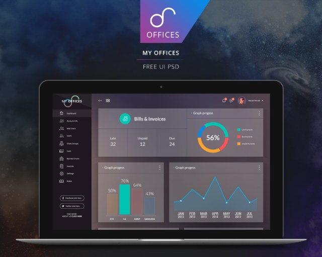 My Offices - Free PSD Dashboard