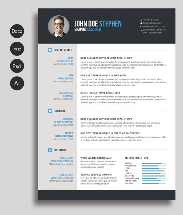 free msword resume and cv template - Ms Word Resume Template