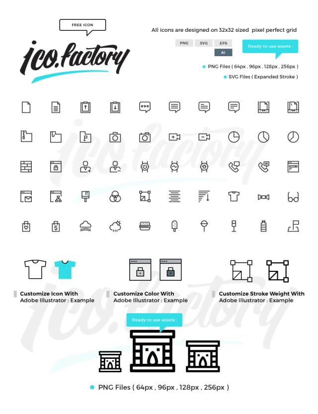 50 Free Simple Line Icon Collection