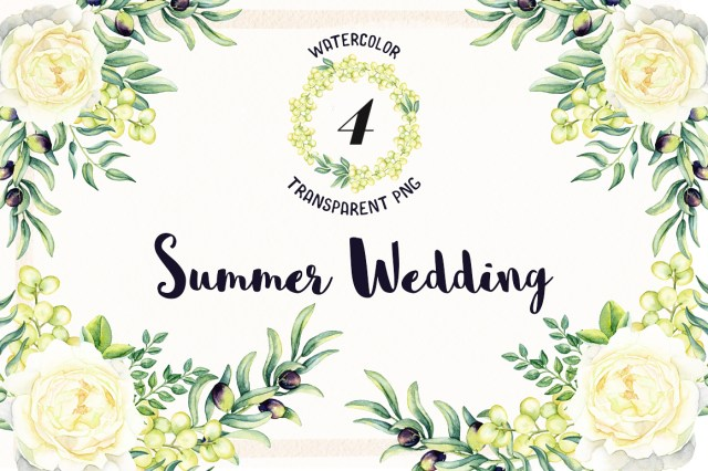Watercolor Summer Wedding Free PNG Flowers