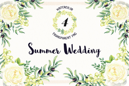 Watercolor Summer Wedding Free PNG Flowers