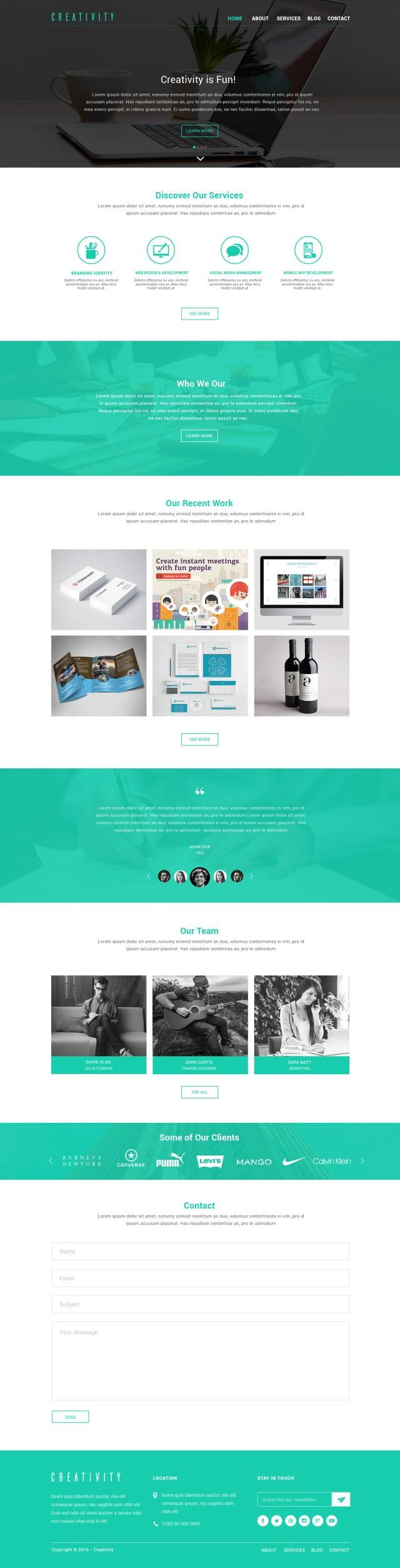 Creativity Design Studio Free PSD
