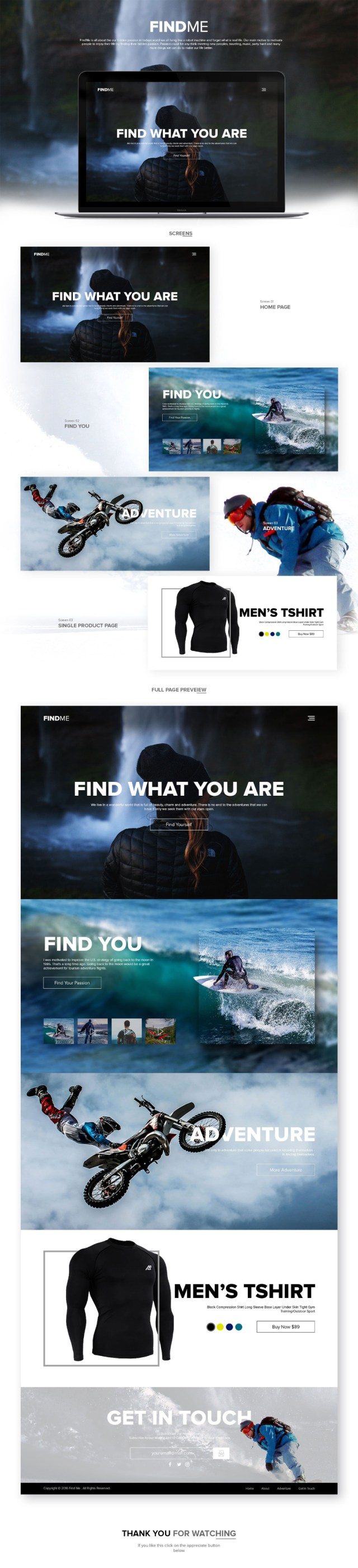 FindMe Full Free PSD Template