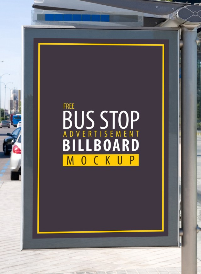 Free Bus Stop Advertisement Mockup