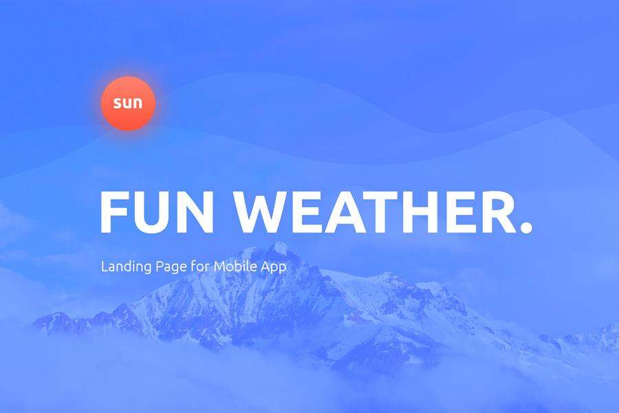 Free WeatherApp PSD Landing