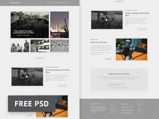 History Bits PSD Template