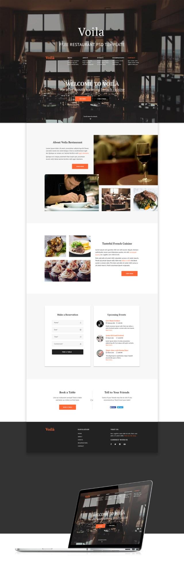 Voila Restaurant Free PSD Template