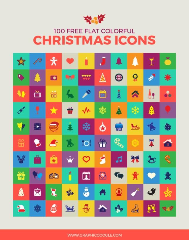 100 Free Flat Christmas Icons