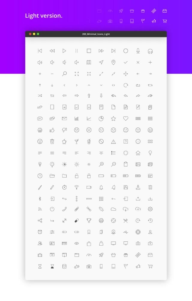 200 Minimal Vector UI Icons