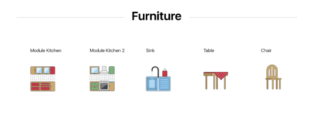 Kitchen Furniture Icons Collection