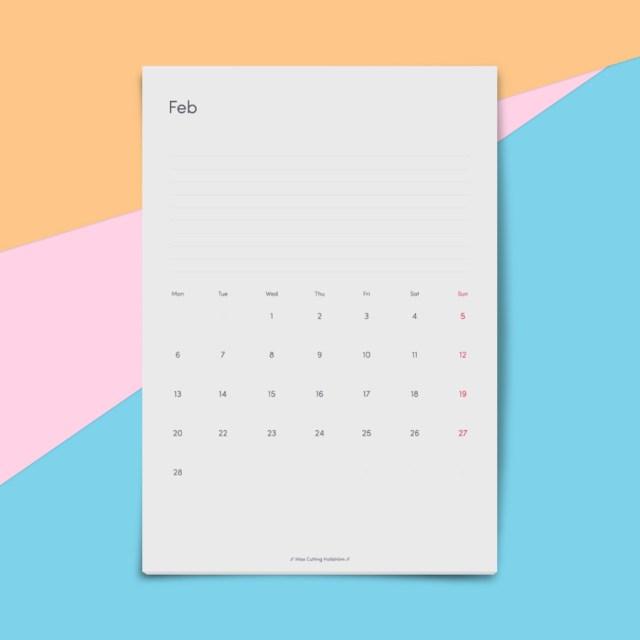 Free Minimal 2017 Calendar Template