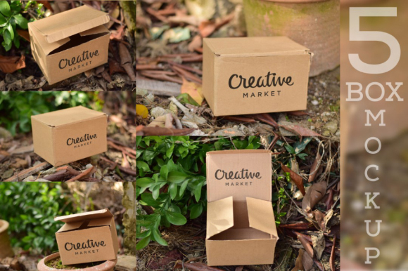 Free 5 Cardboard Mockup PSD