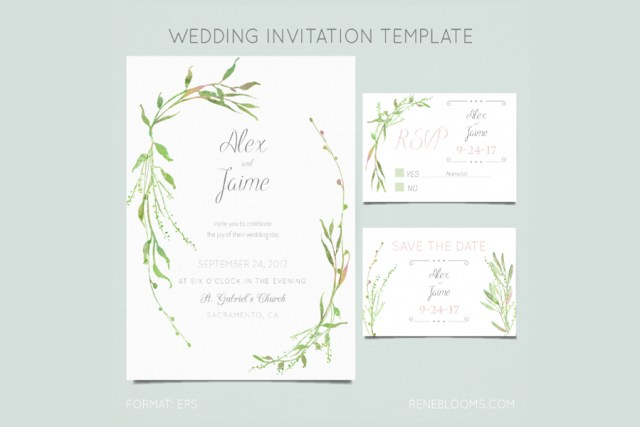 Leafy Wedding Invitation Template