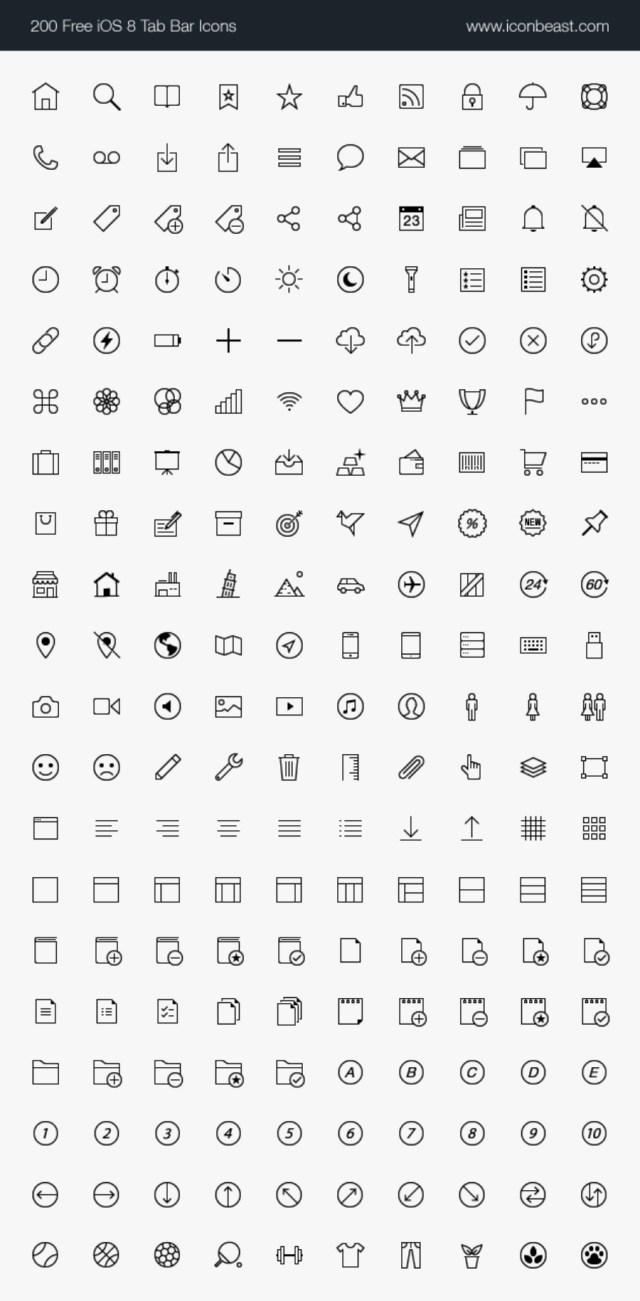 500 Free iOS Tab Bar Icons