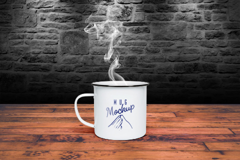 Free Tin Mug PSD Mockup