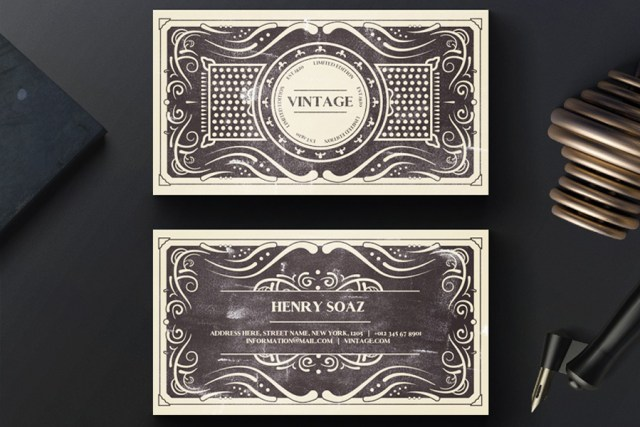 Vintage business card template free design resources vintage business card template wajeb Images