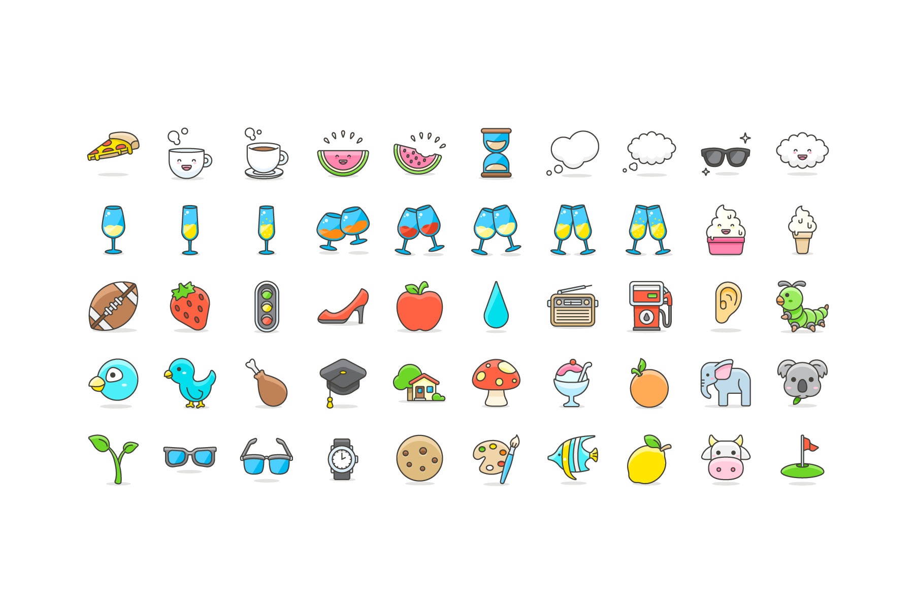 100 Free Vector Cute Emoji
