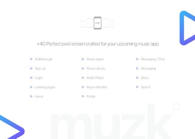 Muzk Mobile UI Kit Demo