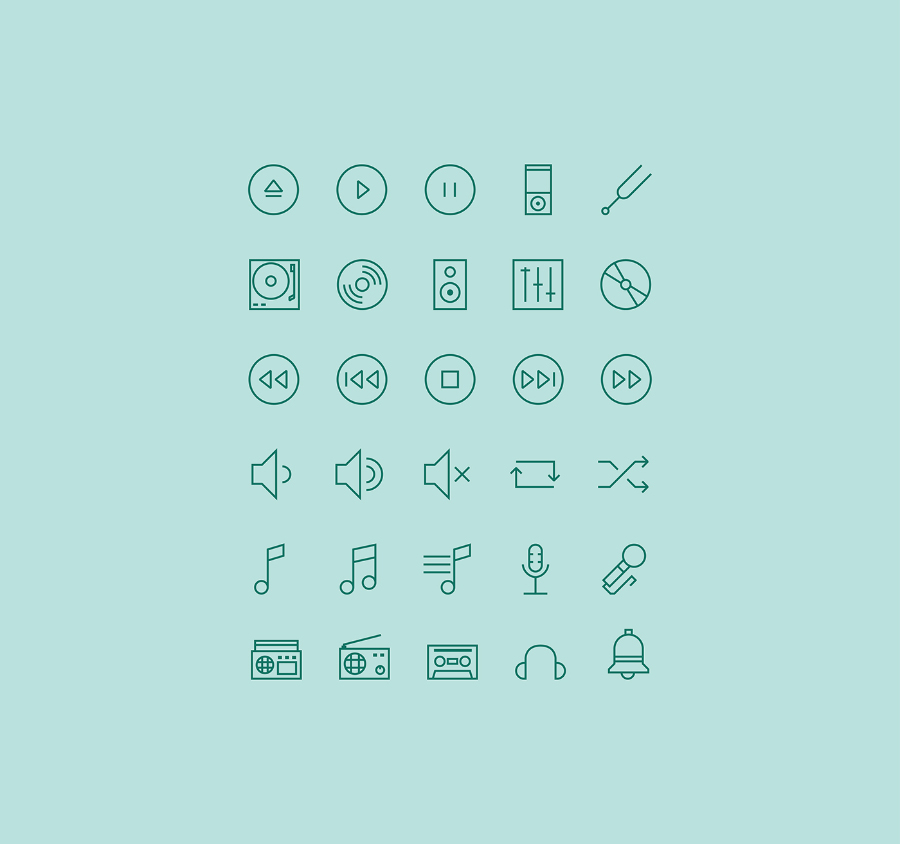 Music – Free Linear Icon Set