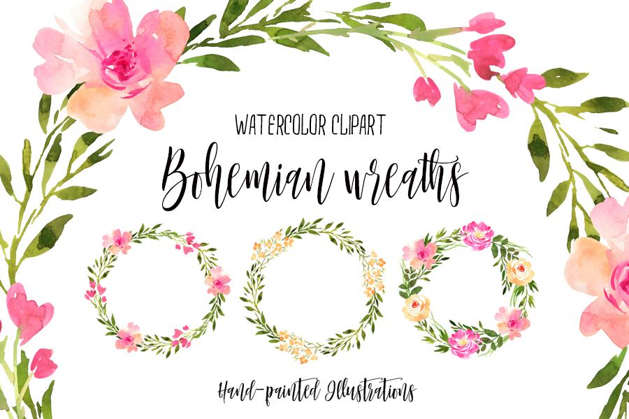 Free Watercolor Bohemian Wreaths