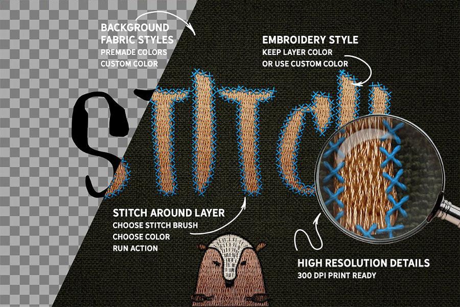 Free Stitch Brush Photoshop