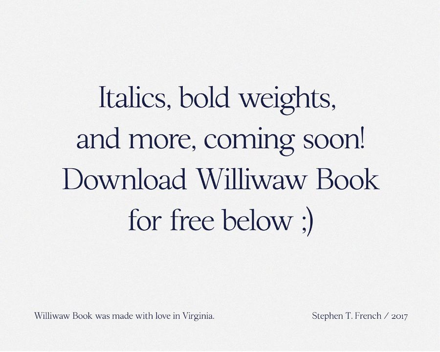 Williwaw Book Free Typeface