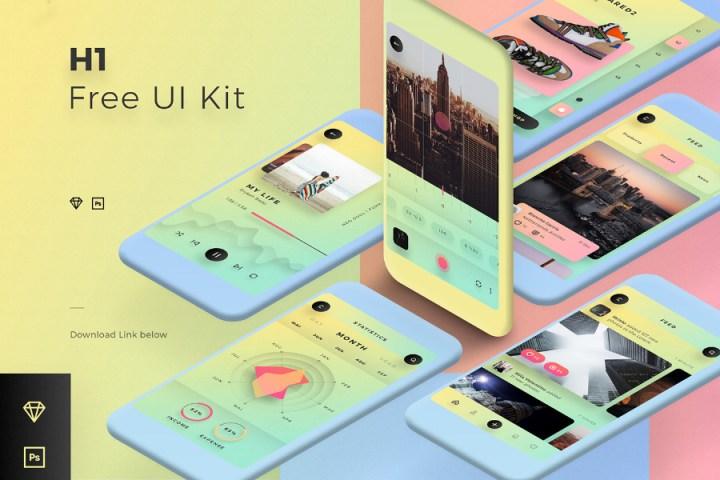 H1 Free Mobile UI Kit Template