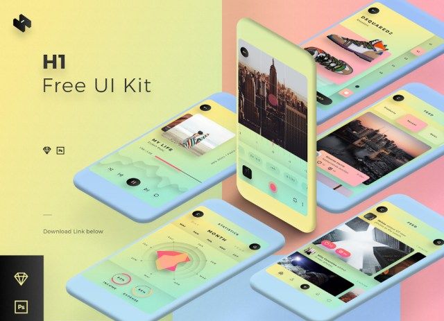 H1 Free Mobile UI Kit Template