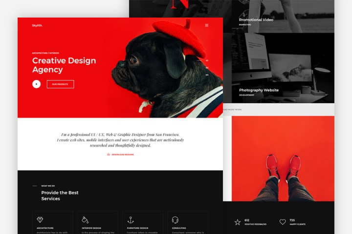 Skylith Free PSD Landing Page
