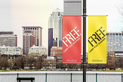 Realistic Lamp Post Banner Mockup