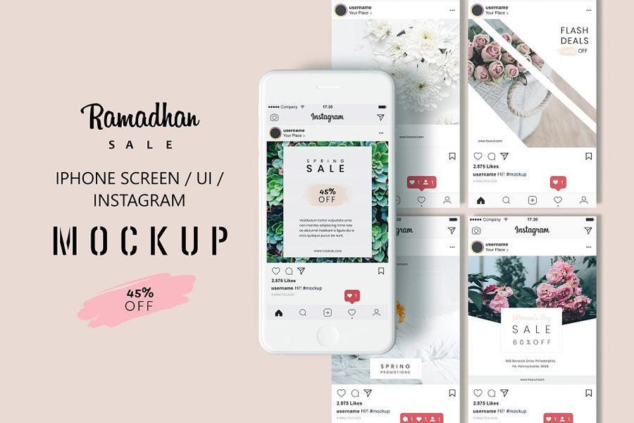 iPhone Screen Instagram Mockup