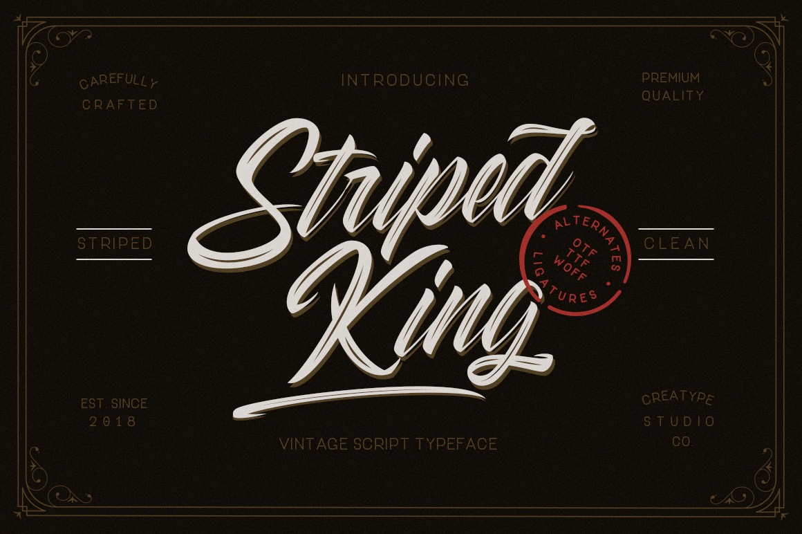 Striped King Handlettering Script