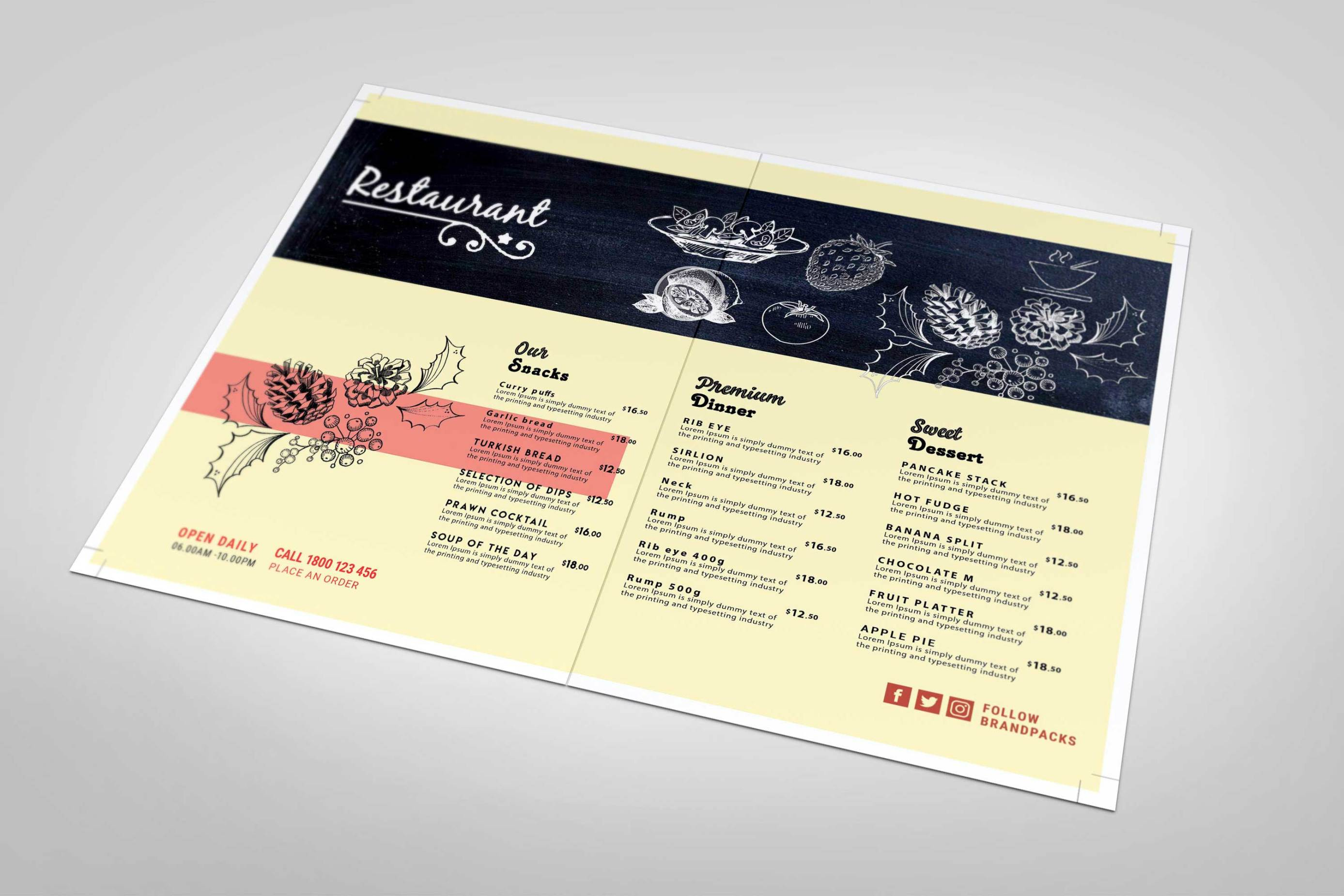 Free Restaurant Menu Template — Free Design Resources