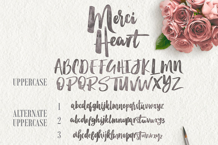 Merci Heart Brush Font Demo