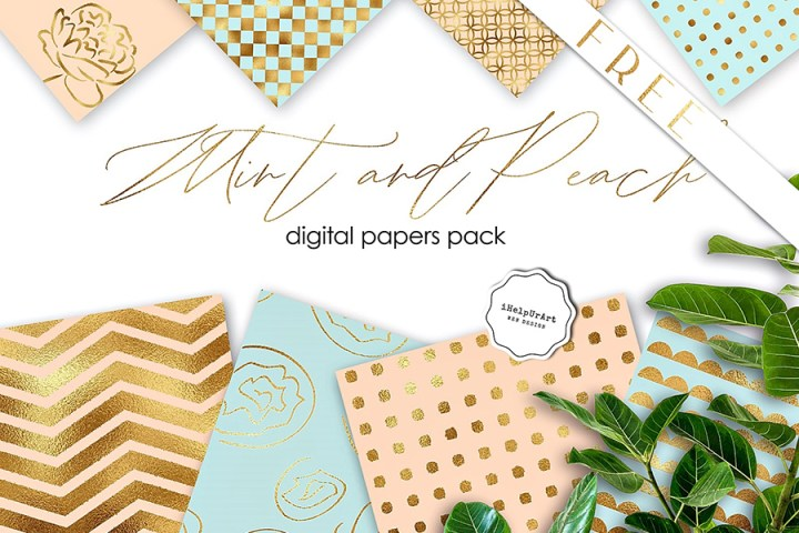 Mint Peach Background Pack