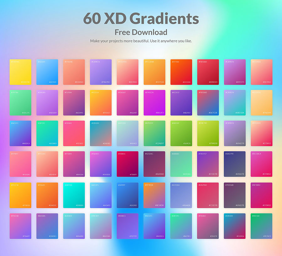 60 Free XD Gradients Palette