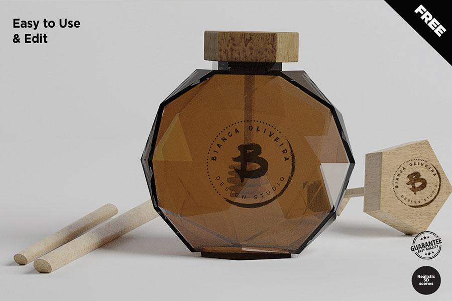 Free Honey Bottle Mockup