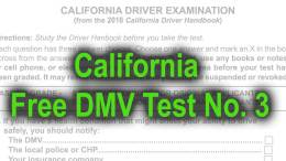 California Free DMV Test No. 3