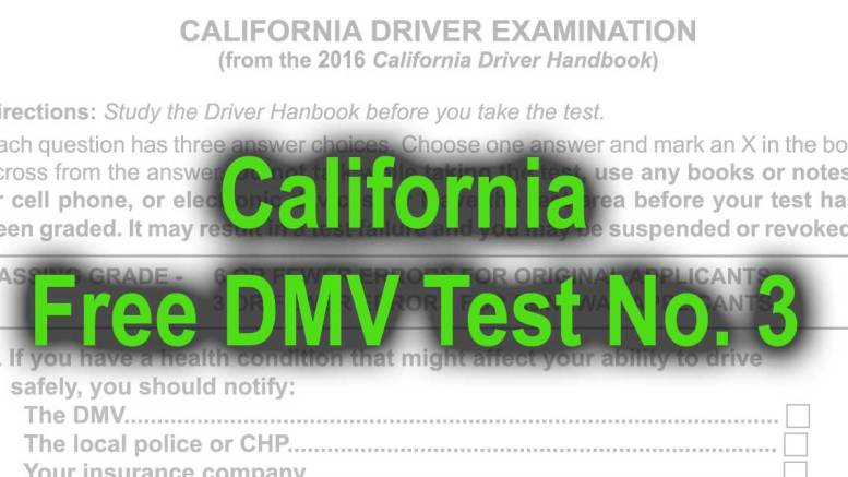 California Free DMV Test No. 3