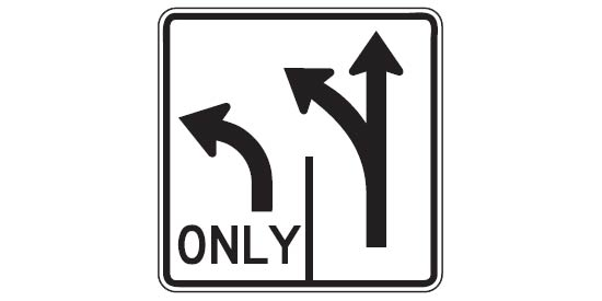 Free DMV Test - Lane Control Sign