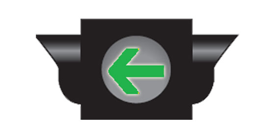Traffic signal showing a green arrow