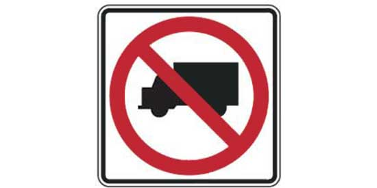 Road sign - square with truck