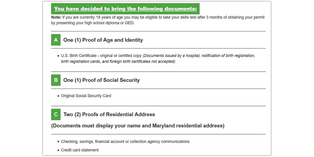 MVA online checklist