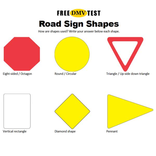 Shapes of U.S. Road Signs - Study Sheet