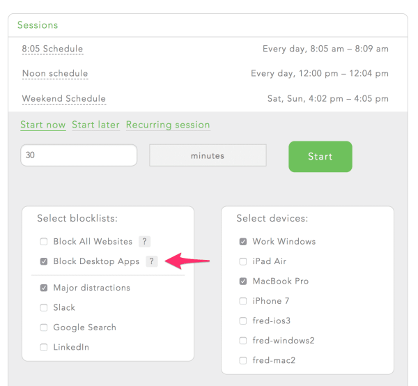 Freedom dashboard - block desktop apps