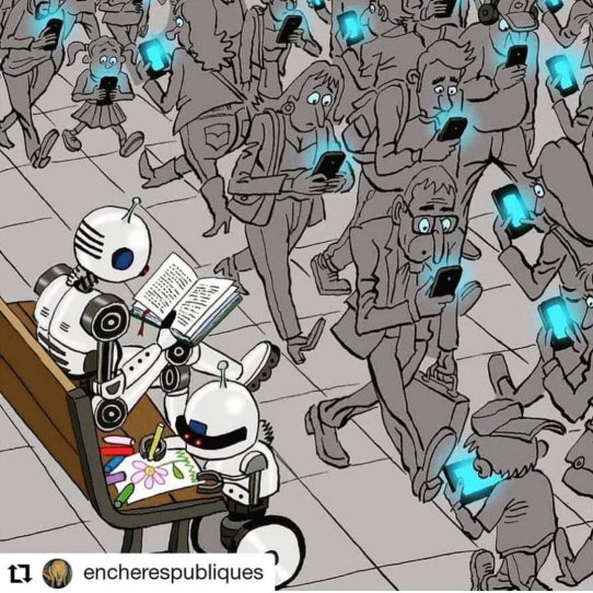 Humans staring blindly at their smartphones and tablets while two robots sit on a bench reading and drawing a picture.