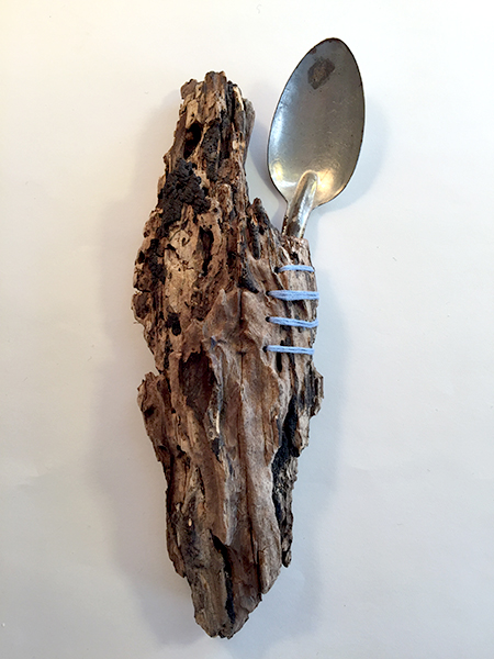 Human Nature Spoon, 2016. Freedom Baird. Vintage spoon, found wood, embroidery thread.