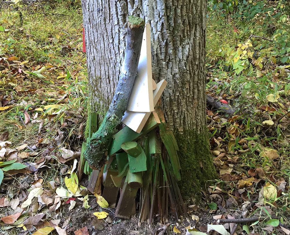 Bottom close-up of Raw, Milled, Held Close, 2016. Freedom Baird. Living ash tree, scrap lumber, acrylic paint. Longwood Lake, Oak ridge, NJ