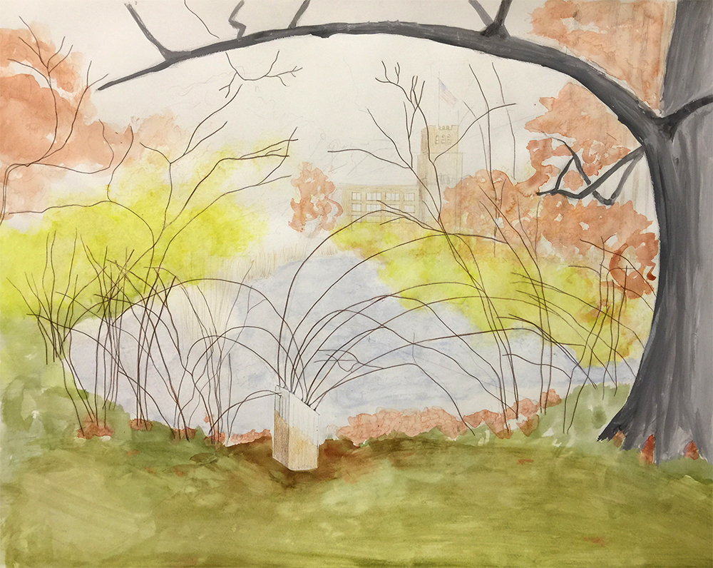 """Drawing for Node Hissed, 2018. Freedom Baird. Living plants, sheet acrylic, steel brackets, concrete block, spackle, latex paint, dust, nylon cord, shock cord. Studios Without Walls """"Beyond Boundaries"""" exhibition. Riverway Park, Brookline, MA"""